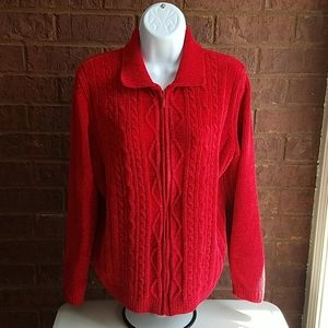 Alfred Dunner Red Chenille Zippered Cardigan